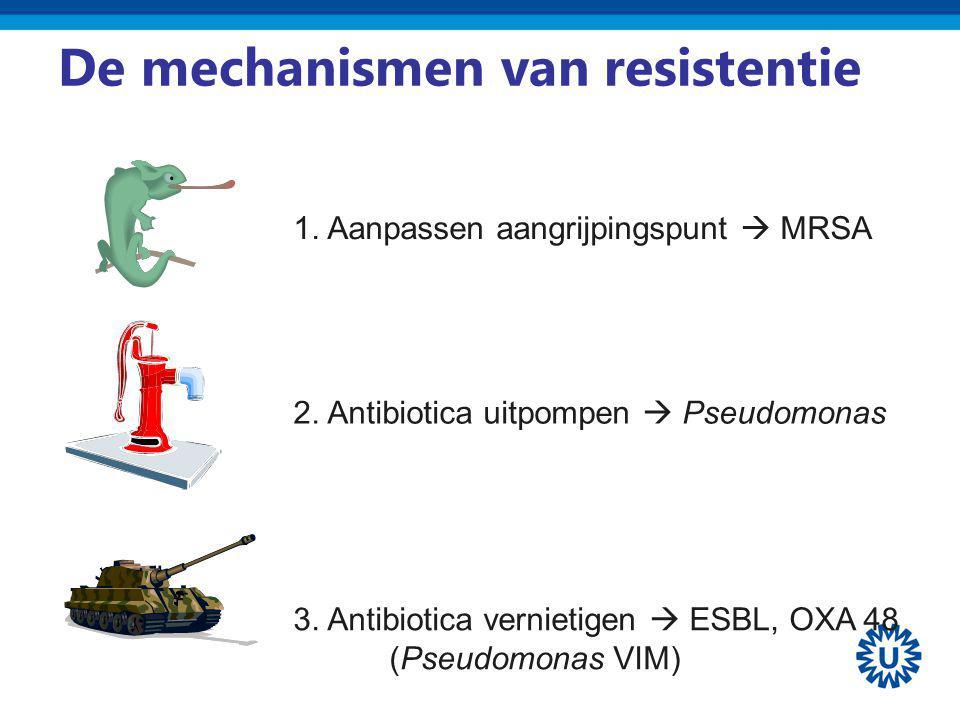 De mechanismen van resistentie 1. Aanpassen aangrijpingspunt  MRSA 2. Antibiotica uitpompen  Pseudomonas 3. Antibiotica vernietigen  ESBL, OXA 48 (