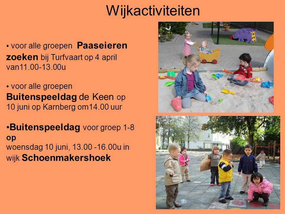 voor alle groepen Paaseieren zoeken bij Turfvaart op 4 april van11.00-13.00u voor alle groepen Buitenspeeldag de Keen op 10 juni op Karnberg om14.00 u