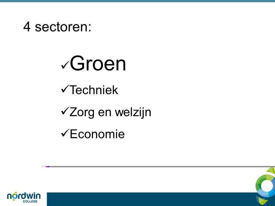 4 sectoren: Groen Techniek Zorg en welzijn Economie