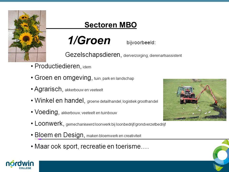 Sectoren MBO 1/Groen bijvoorbeeld: Gezelschapsdieren, dierverzorging, dierenartsassistent Productiedieren, idem Groen en omgeving, tuin, park en lands