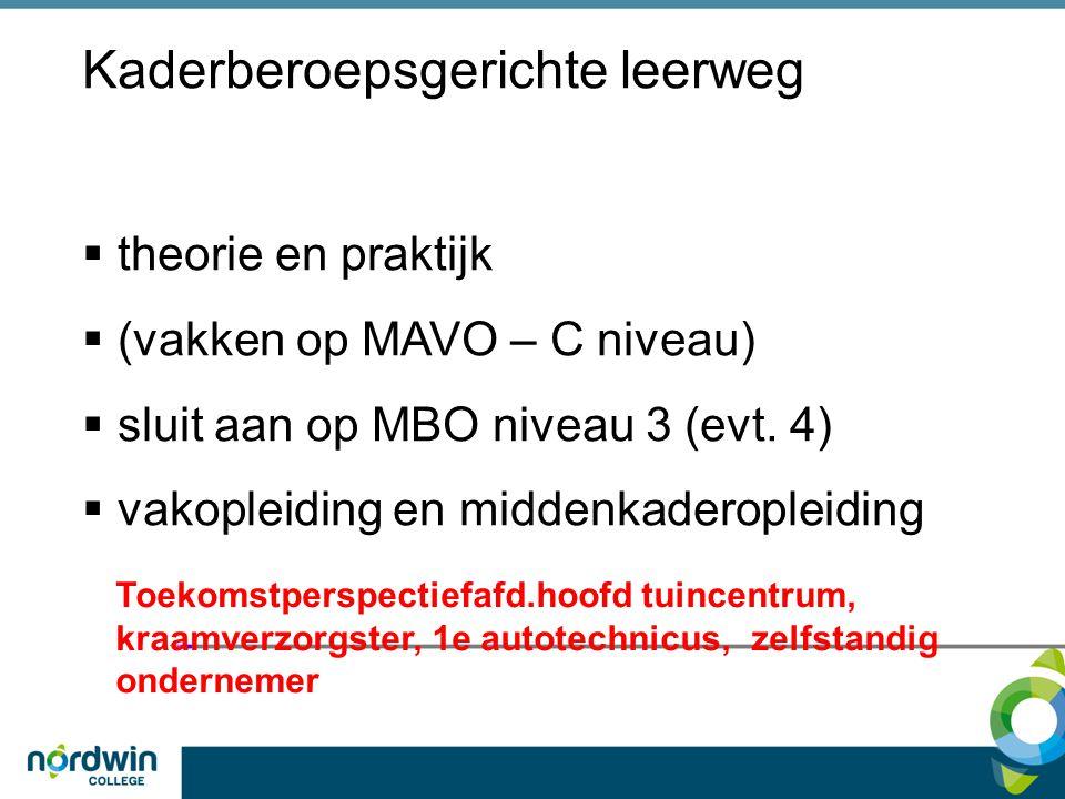 Kaderberoepsgerichte leerweg  theorie en praktijk  (vakken op MAVO – C niveau)  sluit aan op MBO niveau 3 (evt. 4)  vakopleiding en middenkaderopl
