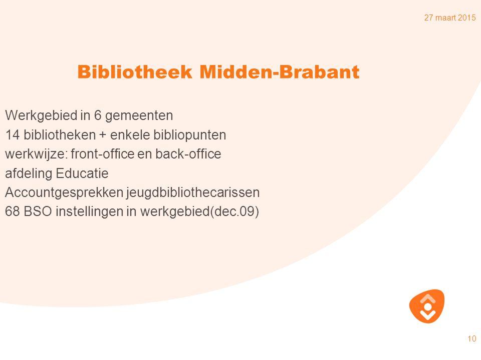 27 maart 2015 10 Bibliotheek Midden-Brabant Werkgebied in 6 gemeenten 14 bibliotheken + enkele bibliopunten werkwijze: front-office en back-office afdeling Educatie Accountgesprekken jeugdbibliothecarissen 68 BSO instellingen in werkgebied(dec.09)