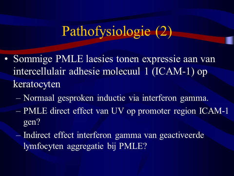 Pathofysiologie (2) Sommige PMLE laesies tonen expressie aan van intercellulair adhesie molecuul 1 (ICAM-1) op keratocyten –Normaal gesproken inductie