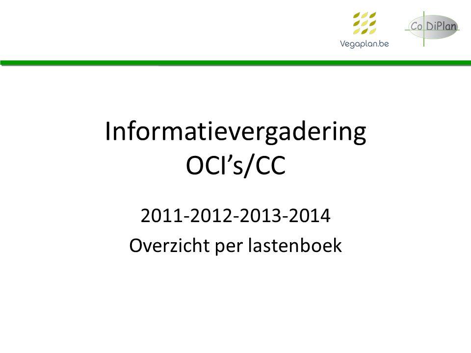 Informatievergadering OCI's/CC 2011-2012-2013-2014 Overzicht per lastenboek