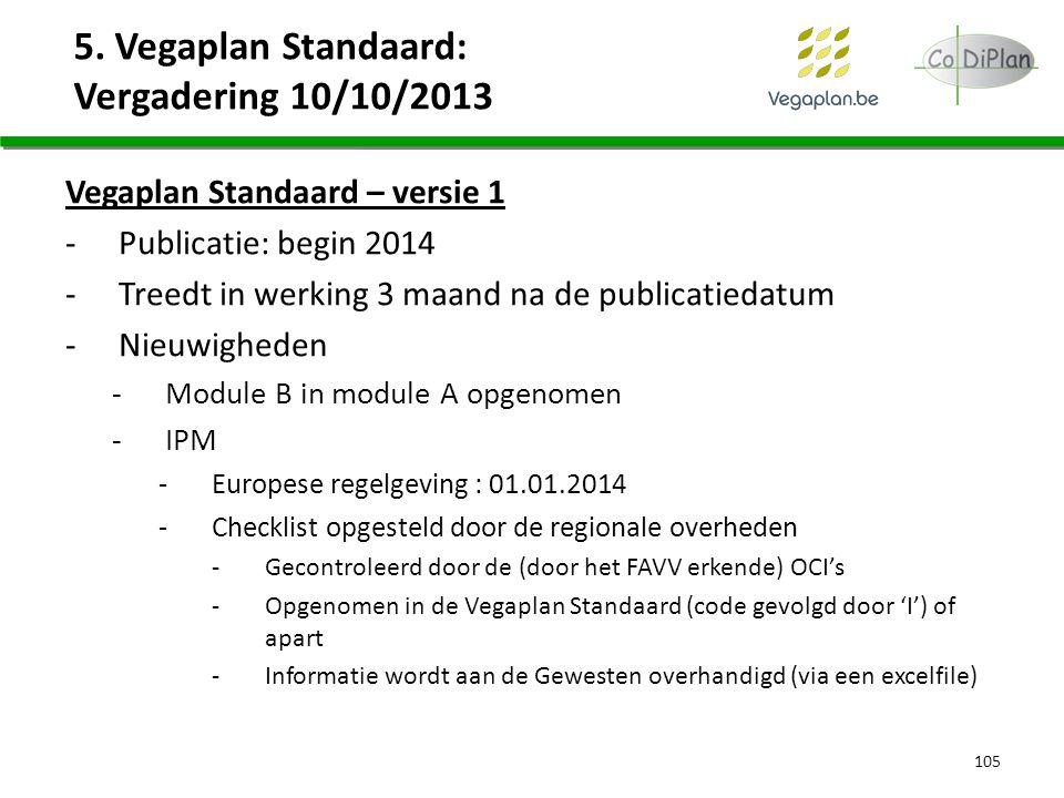 5. Vegaplan Standaard: Vergadering 10/10/2013 Vegaplan Standaard – versie 1 -Publicatie: begin 2014 -Treedt in werking 3 maand na de publicatiedatum -