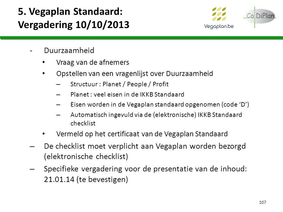 5. Vegaplan Standaard: Vergadering 10/10/2013 -Duurzaamheid Vraag van de afnemers Opstellen van een vragenlijst over Duurzaamheid – Structuur : Planet
