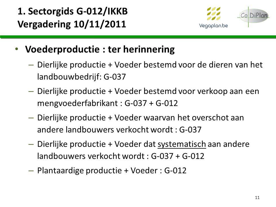 1. Sectorgids G-012/IKKB Vergadering 10/11/2011 Voederproductie : ter herinnering – Dierlijke productie + Voeder bestemd voor de dieren van het landbo