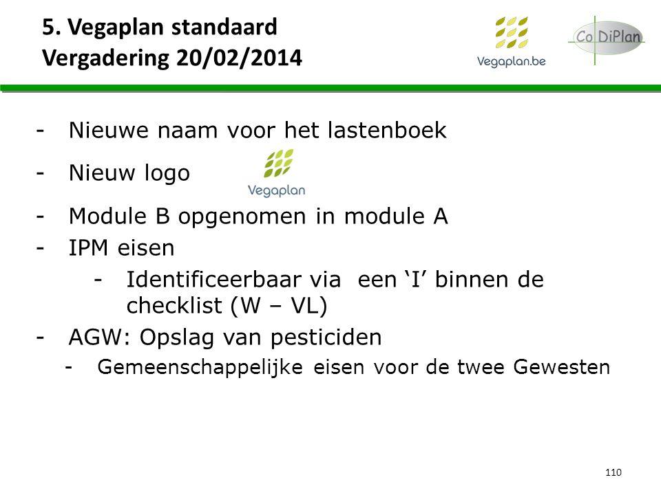 110 -Nieuwe naam voor het lastenboek -Nieuw logo -Module B opgenomen in module A -IPM eisen -Identificeerbaar via een 'I' binnen de checklist (W – VL)