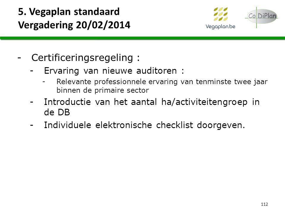 5. Vegaplan standaard Vergadering 20/02/2014 112 -Certificeringsregeling : -Ervaring van nieuwe auditoren : -Relevante professionnele ervaring van ten