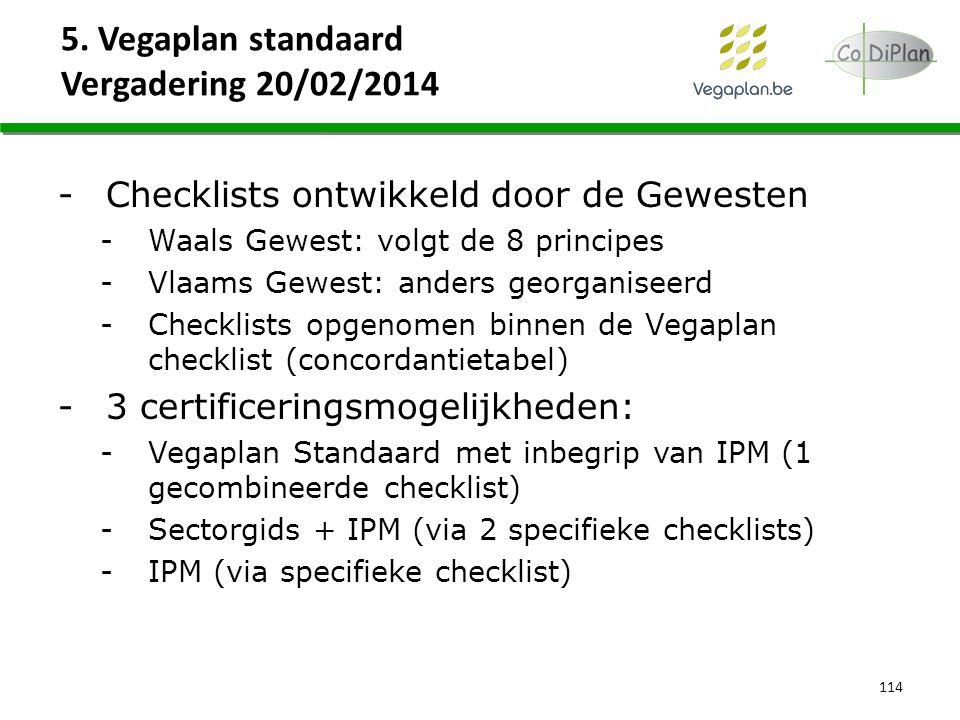 5. Vegaplan standaard Vergadering 20/02/2014 114 -Checklists ontwikkeld door de Gewesten -Waals Gewest: volgt de 8 principes -Vlaams Gewest: anders ge