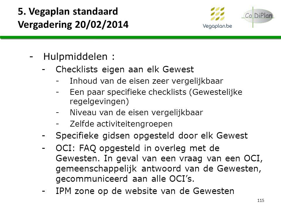 5. Vegaplan standaard Vergadering 20/02/2014 115 -Hulpmiddelen : -Checklists eigen aan elk Gewest -Inhoud van de eisen zeer vergelijkbaar -Een paar sp
