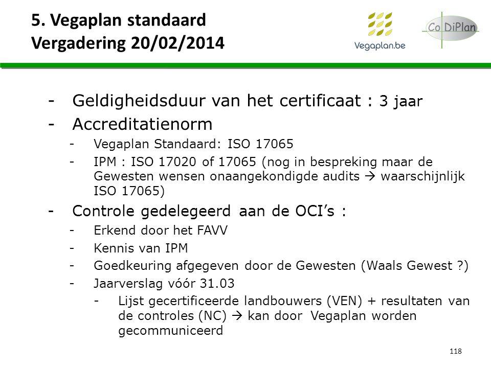 5. Vegaplan standaard Vergadering 20/02/2014 118 -Geldigheidsduur van het certificaat : 3 jaar -Accreditatienorm -Vegaplan Standaard: ISO 17065 -IPM :