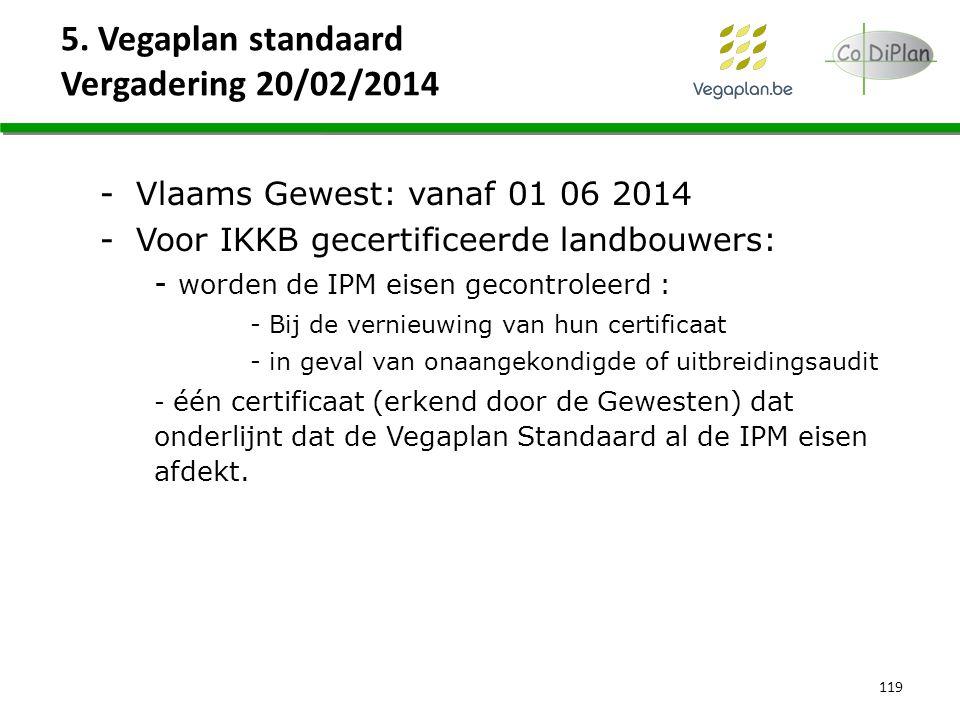 5. Vegaplan standaard Vergadering 20/02/2014 119 -Vlaams Gewest: vanaf 01 06 2014 -Voor IKKB gecertificeerde landbouwers: - worden de IPM eisen gecont