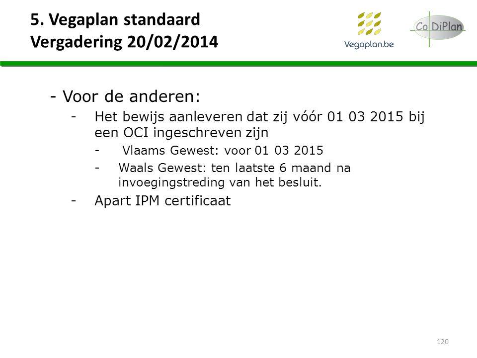 5. Vegaplan standaard Vergadering 20/02/2014 - Voor de anderen: -Het bewijs aanleveren dat zij vóór 01 03 2015 bij een OCI ingeschreven zijn - Vlaams
