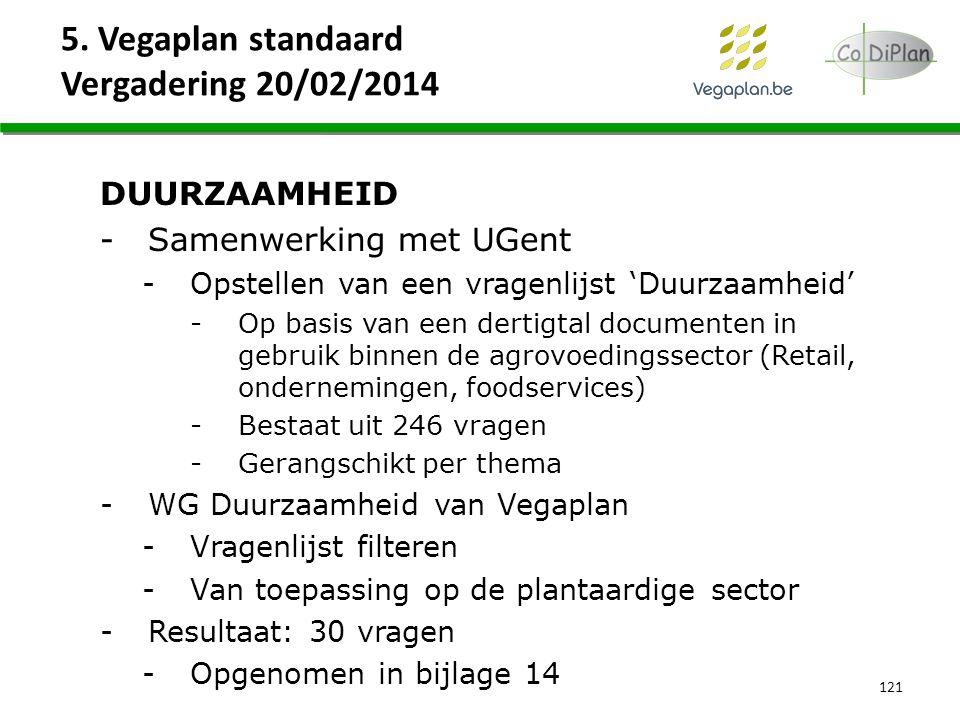 5. Vegaplan standaard Vergadering 20/02/2014 DUURZAAMHEID -Samenwerking met UGent -Opstellen van een vragenlijst 'Duurzaamheid' -Op basis van een dert