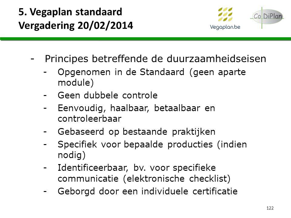 5. Vegaplan standaard Vergadering 20/02/2014 122 -Principes betreffende de duurzaamheidseisen -Opgenomen in de Standaard (geen aparte module) -Geen du