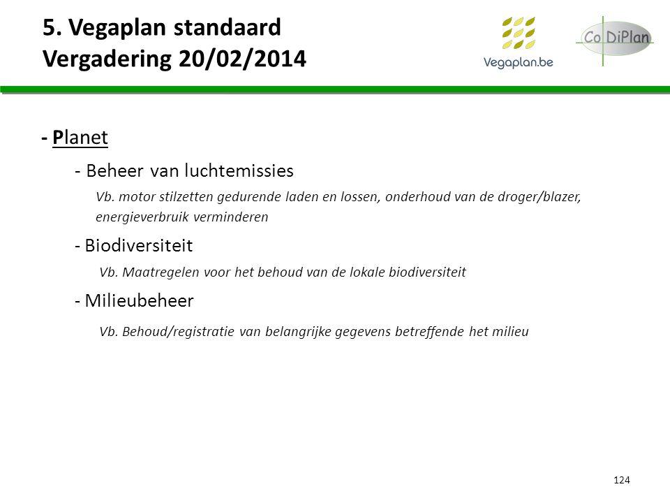 5. Vegaplan standaard Vergadering 20/02/2014 124 - Planet - Beheer van luchtemissies Vb. motor stilzetten gedurende laden en lossen, onderhoud van de