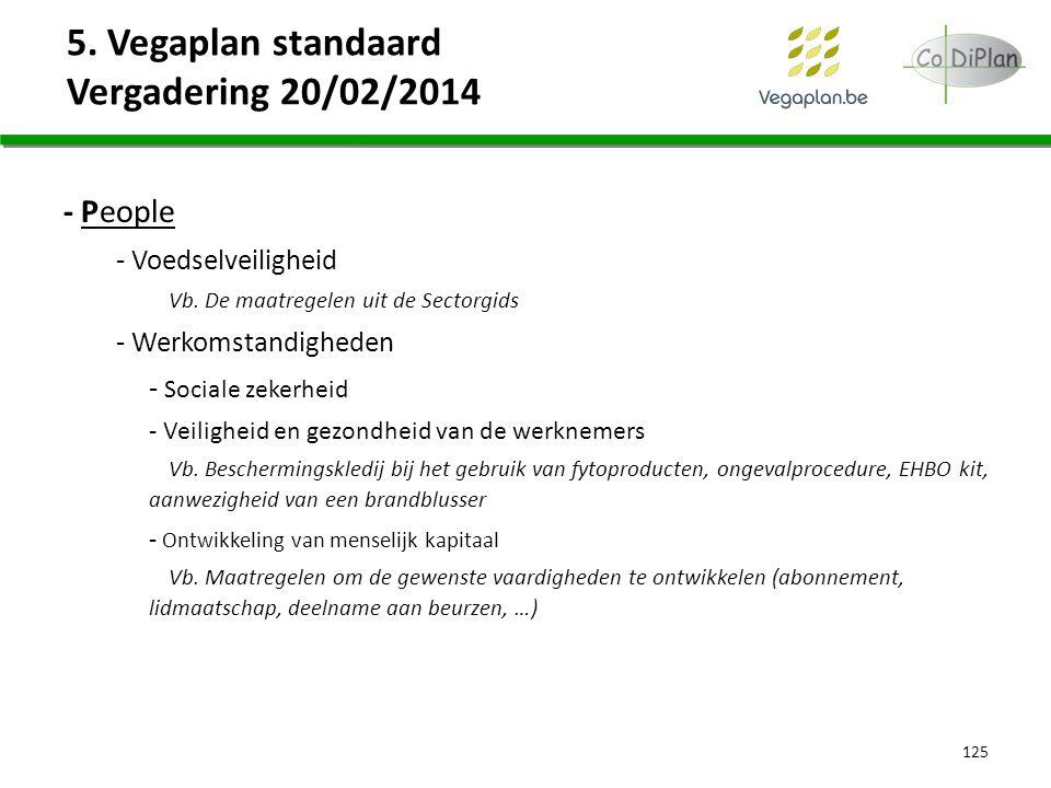 5. Vegaplan standaard Vergadering 20/02/2014 125 - People - Voedselveiligheid Vb. De maatregelen uit de Sectorgids - Werkomstandigheden - Sociale zeke
