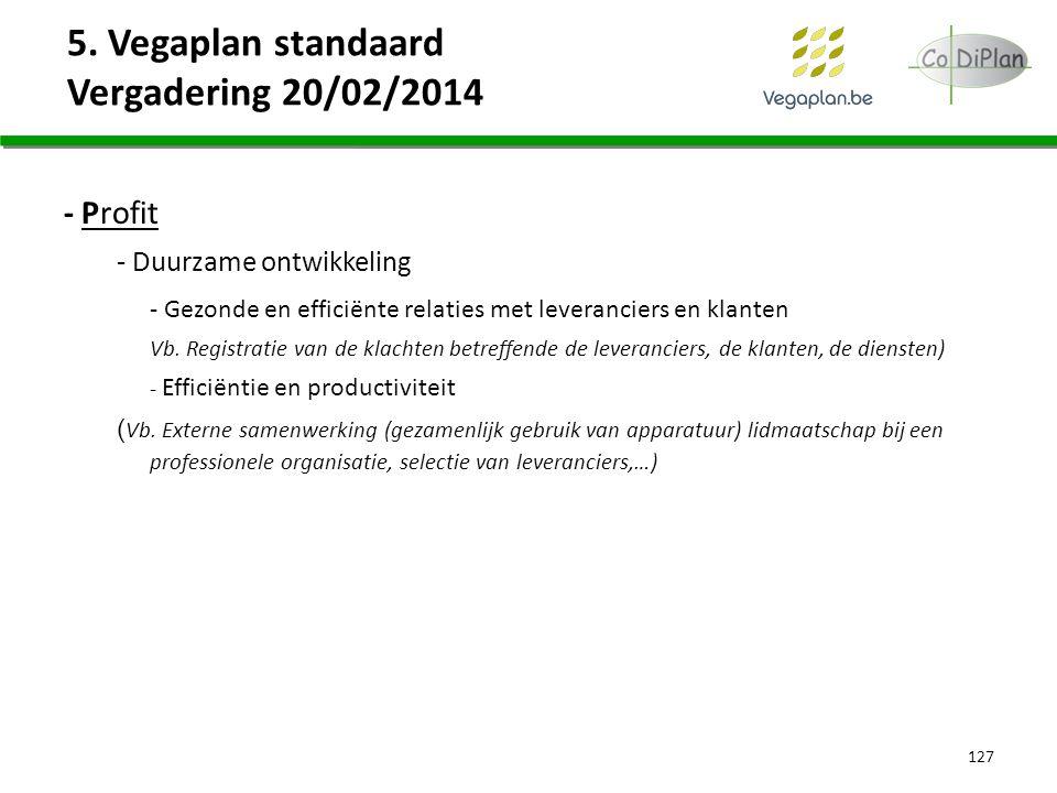 5. Vegaplan standaard Vergadering 20/02/2014 127 - Profit - Duurzame ontwikkeling - Gezonde en efficiënte relaties met leveranciers en klanten Vb. Reg