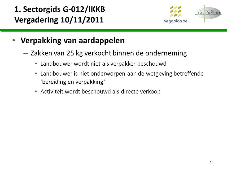 1. Sectorgids G-012/IKKB Vergadering 10/11/2011 Verpakking van aardappelen – Zakken van 25 kg verkocht binnen de onderneming Landbouwer wordt niet als