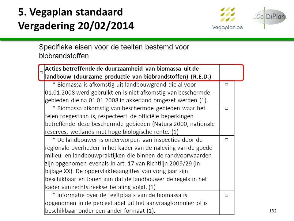 5. Vegaplan standaard Vergadering 20/02/2014 132 Specifieke eisen voor de teelten bestemd voor biobrandstoffen □ Acties betreffende de duurzaamheid va