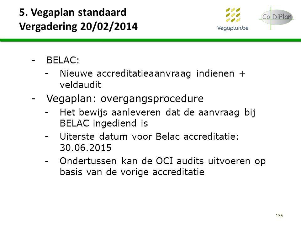 5. Vegaplan standaard Vergadering 20/02/2014 135 -BELAC: -Nieuwe accreditatieaanvraag indienen + veldaudit -Vegaplan: overgangsprocedure -Het bewijs a