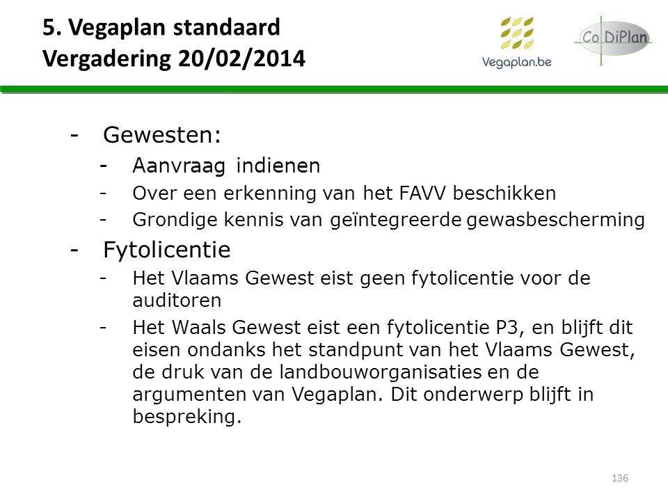 5. Vegaplan standaard Vergadering 20/02/2014 136 -Gewesten: -Aanvraag indienen -Over een erkenning van het FAVV beschikken -Grondige kennis van geïnte