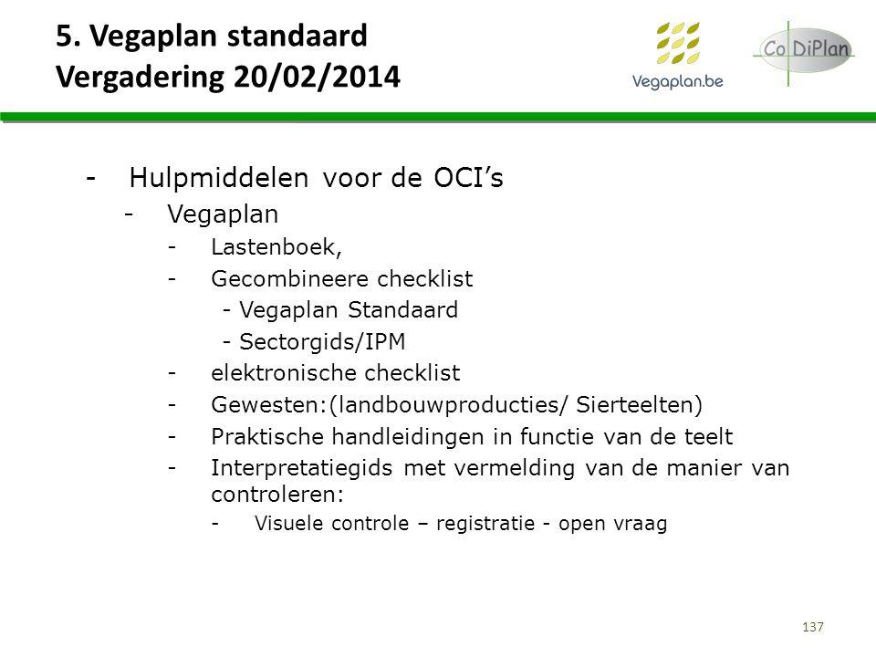 5. Vegaplan standaard Vergadering 20/02/2014 137 -Hulpmiddelen voor de OCI's -Vegaplan -Lastenboek, -Gecombineere checklist - Vegaplan Standaard - Sec