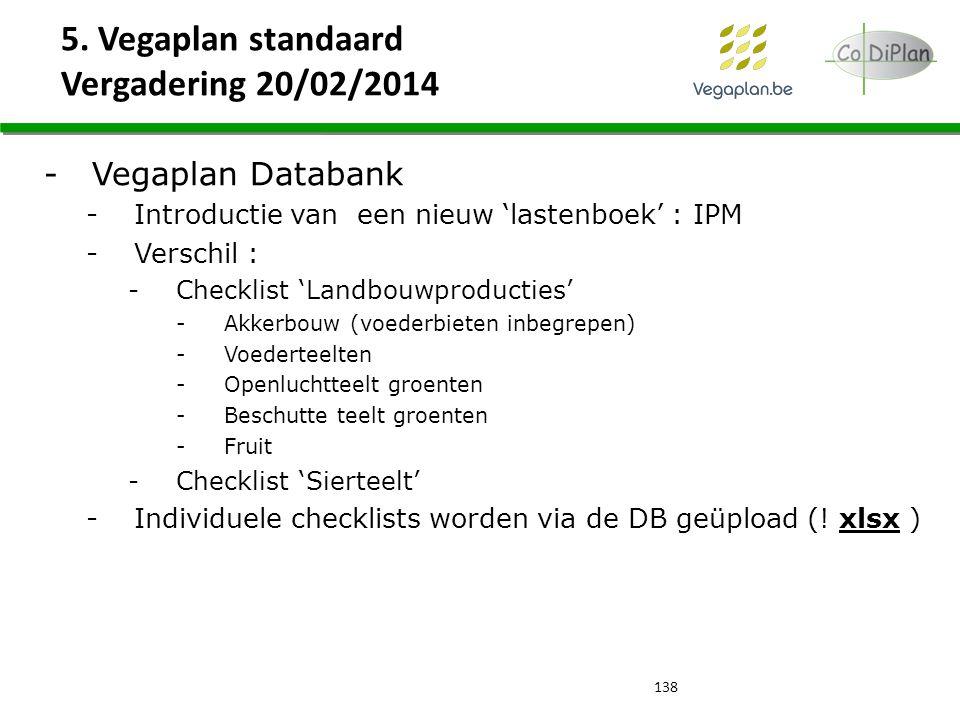 5. Vegaplan standaard Vergadering 20/02/2014 138 -Vegaplan Databank -Introductie van een nieuw 'lastenboek' : IPM -Verschil : -Checklist 'Landbouwprod