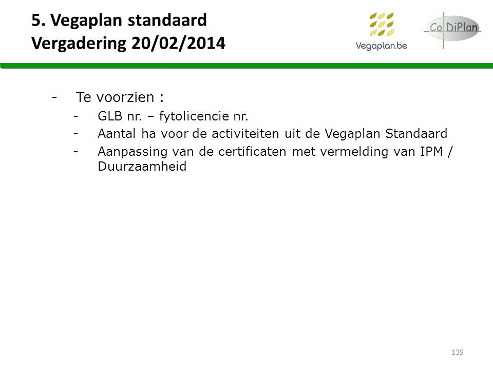 5. Vegaplan standaard Vergadering 20/02/2014 -Te voorzien : -GLB nr. – fytolicencie nr. -Aantal ha voor de activiteiten uit de Vegaplan Standaard -Aan