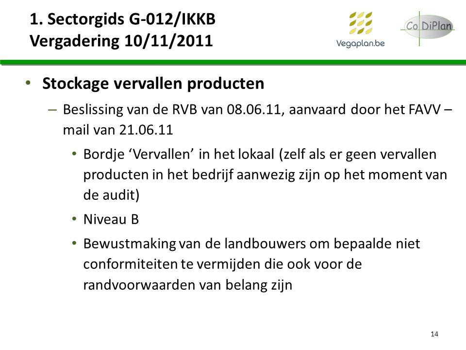 1. Sectorgids G-012/IKKB Vergadering 10/11/2011 Stockage vervallen producten – Beslissing van de RVB van 08.06.11, aanvaard door het FAVV – mail van 2