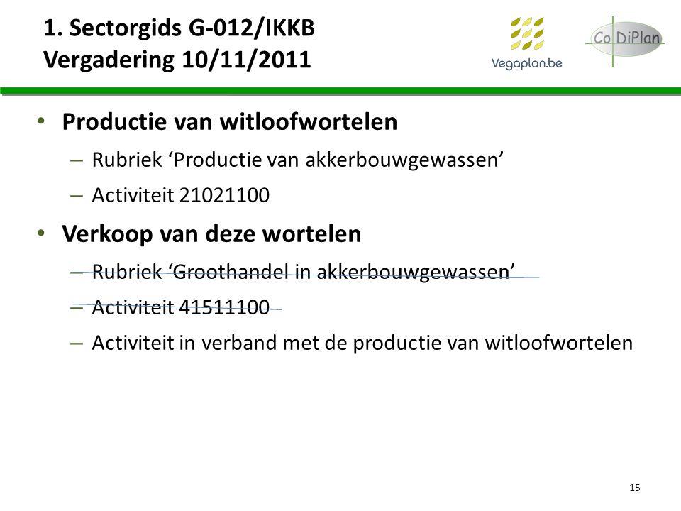 1. Sectorgids G-012/IKKB Vergadering 10/11/2011 Productie van witloofwortelen – Rubriek 'Productie van akkerbouwgewassen' – Activiteit 21021100 Verkoo