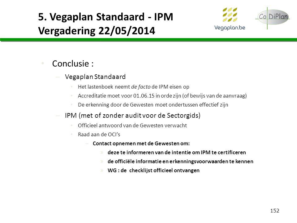152 5. Vegaplan Standaard - IPM Vergadering 22/05/2014 Conclusie : – Vegaplan Standaard Het lastenboek neemt de facto de IPM eisen op Accreditatie moe