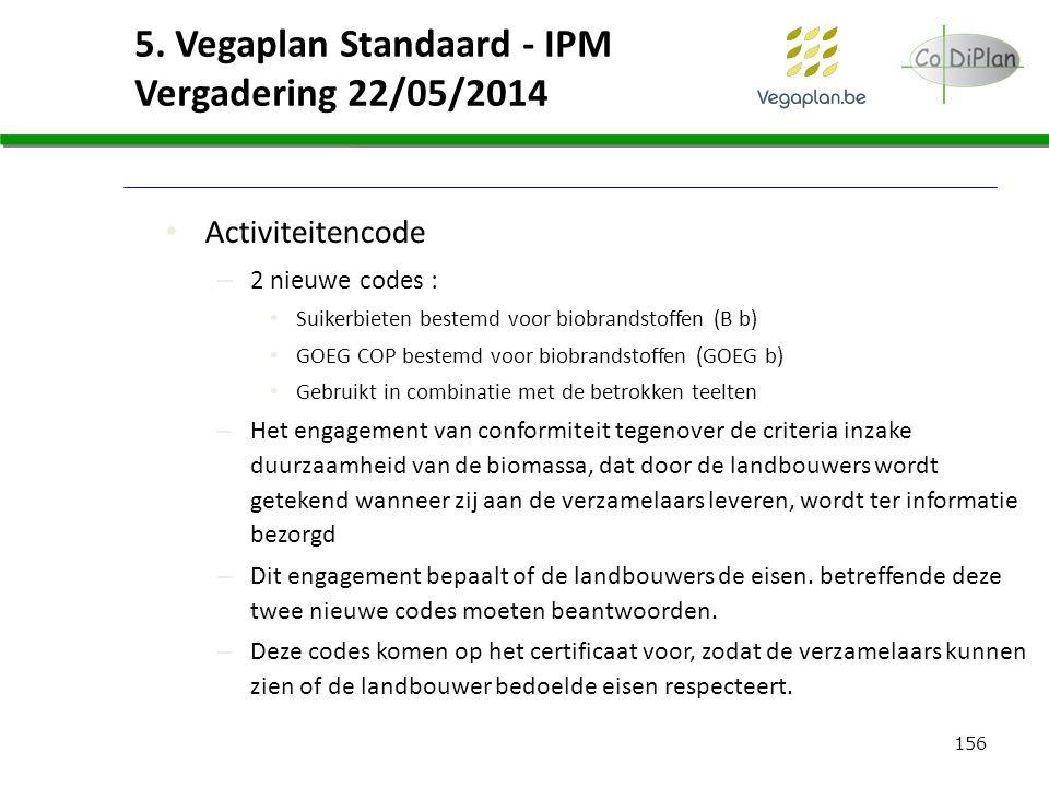 156 5. Vegaplan Standaard - IPM Vergadering 22/05/2014 Activiteitencode – 2 nieuwe codes : Suikerbieten bestemd voor biobrandstoffen (B b) GOEG COP be