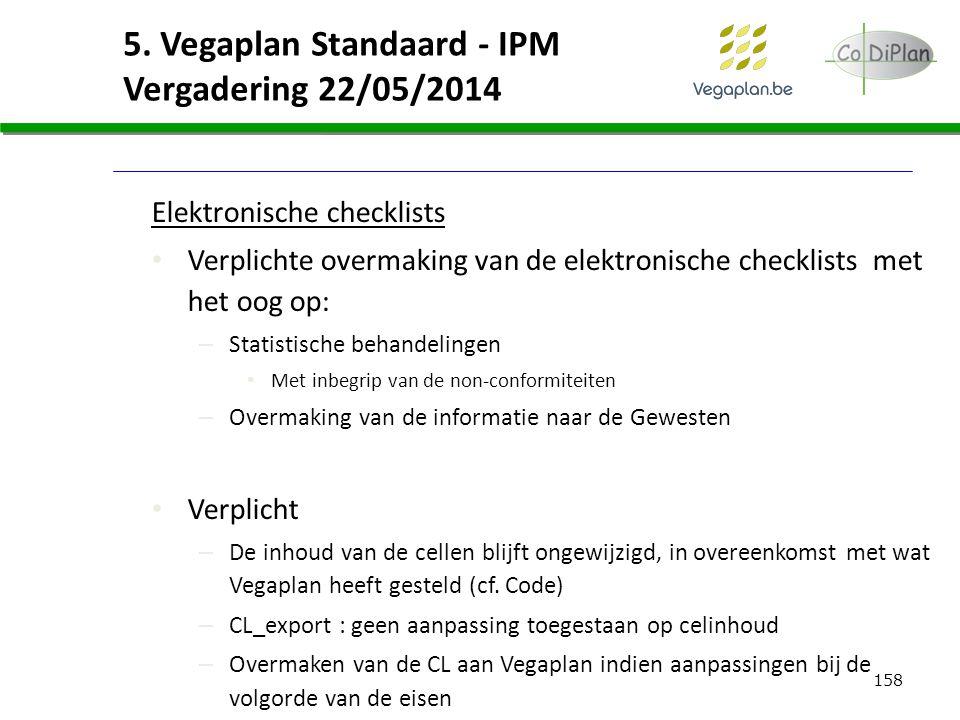 158 5. Vegaplan Standaard - IPM Vergadering 22/05/2014 Elektronische checklists Verplichte overmaking van de elektronische checklists met het oog op: