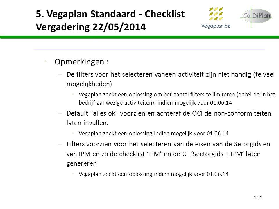 161 5. Vegaplan Standaard - Checklist Vergadering 22/05/2014 Opmerkingen : – De filters voor het selecteren vaneen activiteit zijn niet handig (te vee