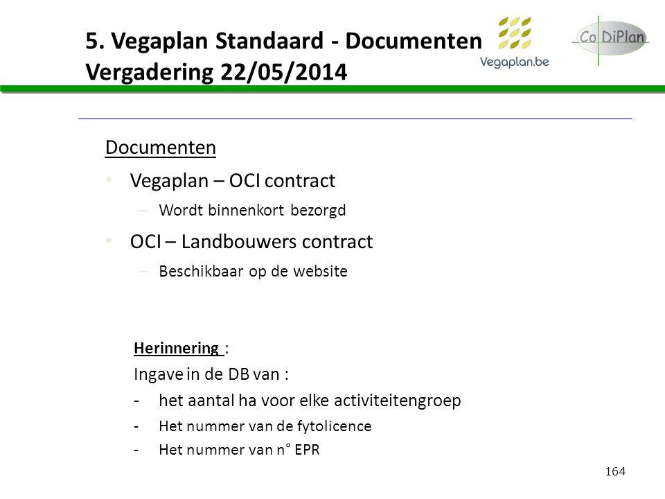 164 5. Vegaplan Standaard - Documenten Vergadering 22/05/2014 Documenten Vegaplan – OCI contract – Wordt binnenkort bezorgd OCI – Landbouwers contract