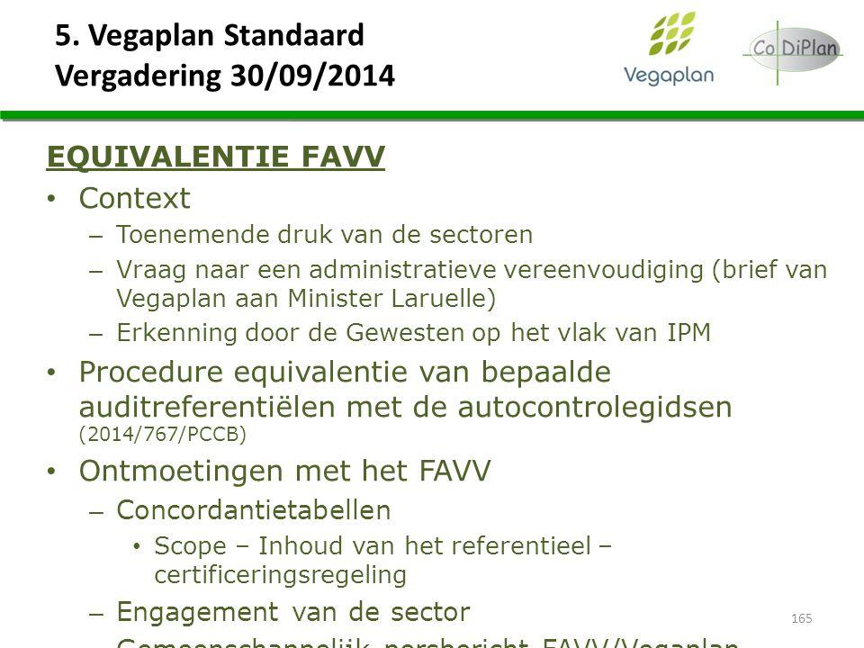 5. Vegaplan Standaard Vergadering 30/09/2014 165 EQUIVALENTIE FAVV Context – Toenemende druk van de sectoren – Vraag naar een administratieve vereenvo