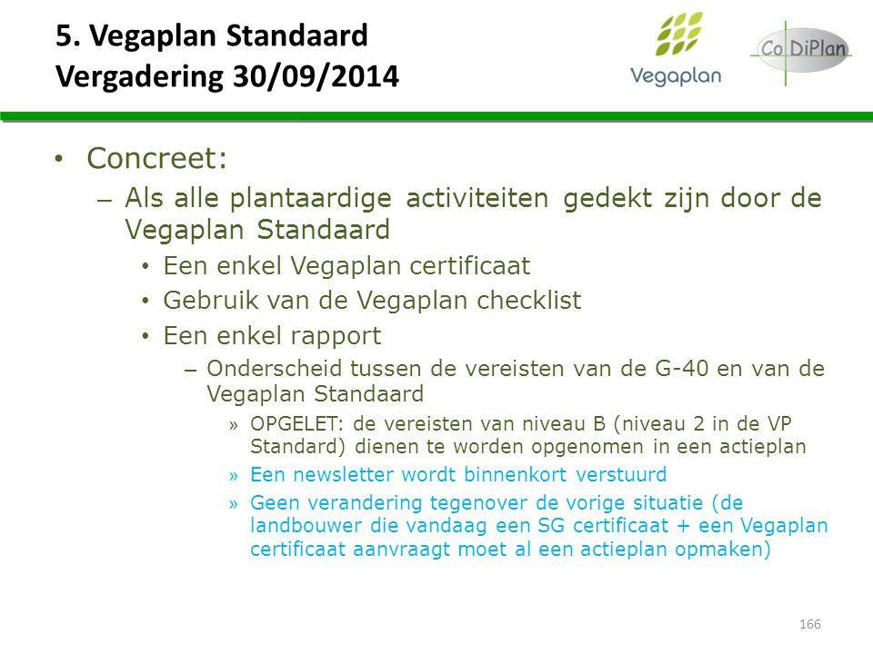 5. Vegaplan Standaard Vergadering 30/09/2014 166 Concreet: – Als alle plantaardige activiteiten gedekt zijn door de Vegaplan Standaard Een enkel Vegap