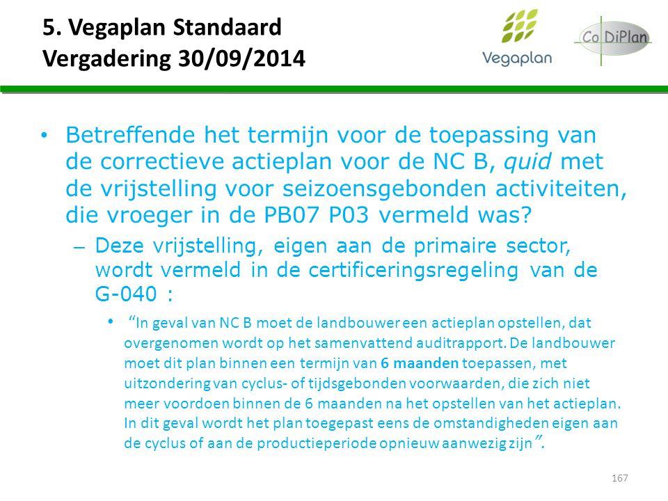 5. Vegaplan Standaard Vergadering 30/09/2014 Betreffende het termijn voor de toepassing van de correctieve actieplan voor de NC B, quid met de vrijste