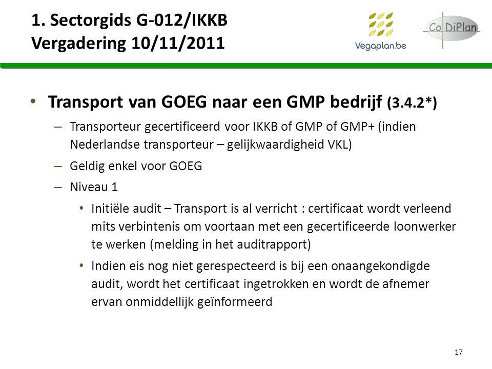 1. Sectorgids G-012/IKKB Vergadering 10/11/2011 Transport van GOEG naar een GMP bedrijf (3.4.2*) – Transporteur gecertificeerd voor IKKB of GMP of GMP