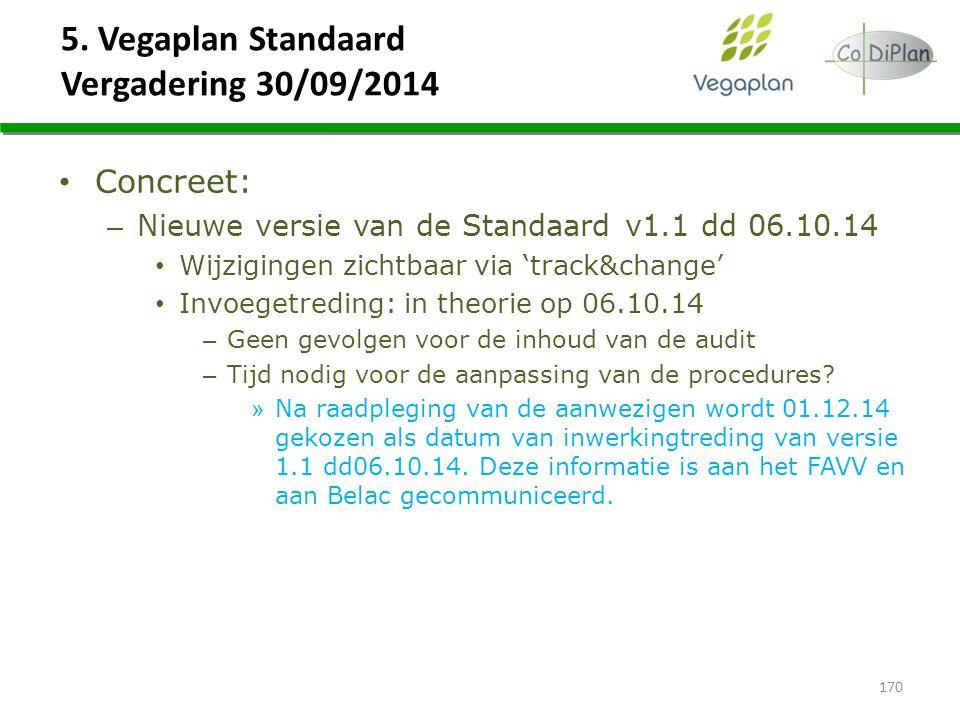 5. Vegaplan Standaard Vergadering 30/09/2014 170 Concreet: – Nieuwe versie van de Standaard v1.1 dd 06.10.14 Wijzigingen zichtbaar via 'track&change'