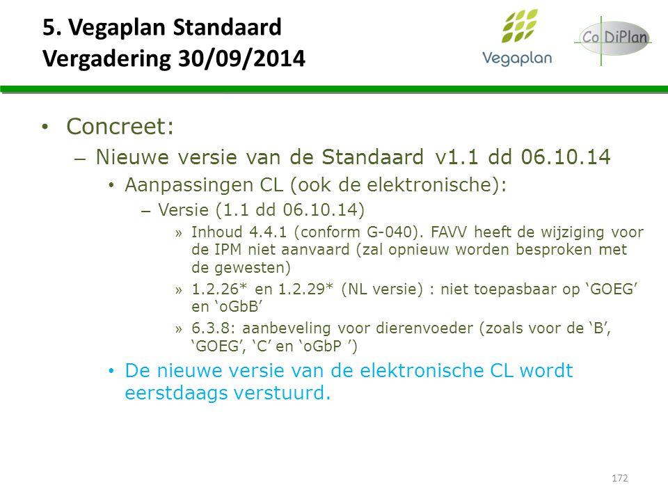 5. Vegaplan Standaard Vergadering 30/09/2014 172 Concreet: – Nieuwe versie van de Standaard v1.1 dd 06.10.14 Aanpassingen CL (ook de elektronische): –
