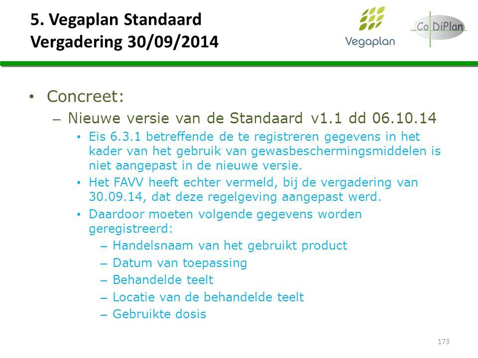 5. Vegaplan Standaard Vergadering 30/09/2014 Concreet: – Nieuwe versie van de Standaard v1.1 dd 06.10.14 Eis 6.3.1 betreffende de te registreren gegev