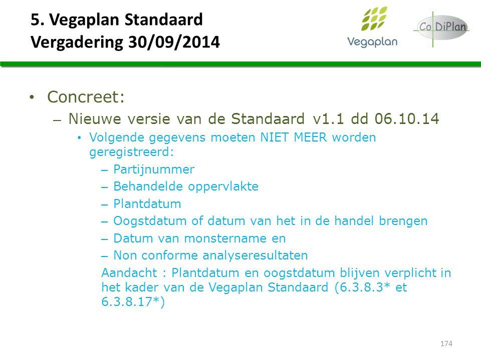 5. Vegaplan Standaard Vergadering 30/09/2014 Concreet: – Nieuwe versie van de Standaard v1.1 dd 06.10.14 Volgende gegevens moeten NIET MEER worden ger