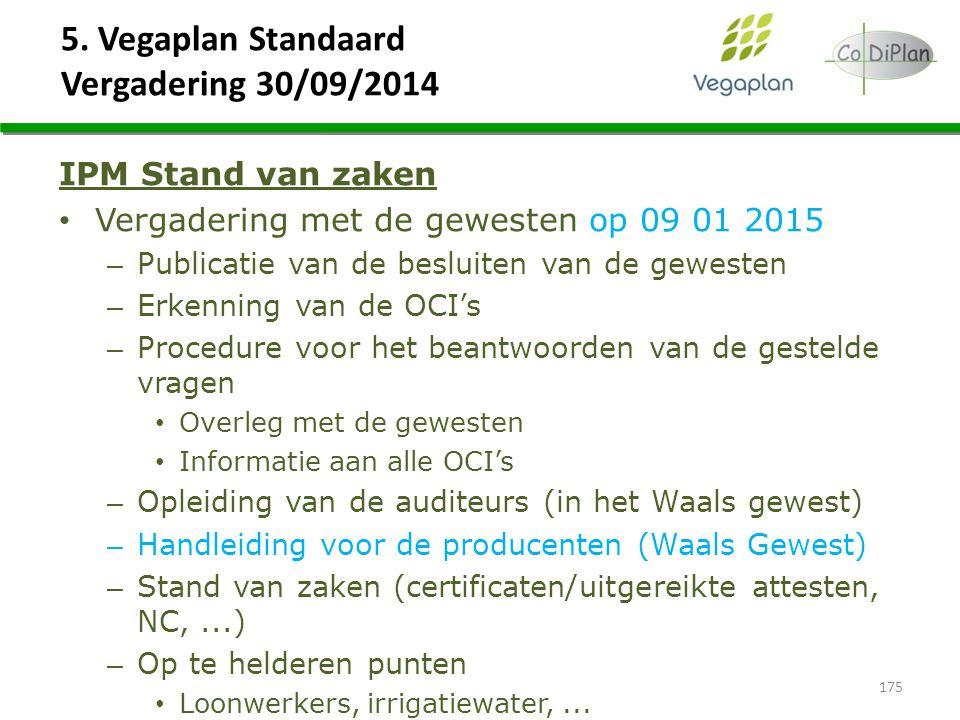 5. Vegaplan Standaard Vergadering 30/09/2014 175 IPM Stand van zaken Vergadering met de gewesten op 09 01 2015 – Publicatie van de besluiten van de ge