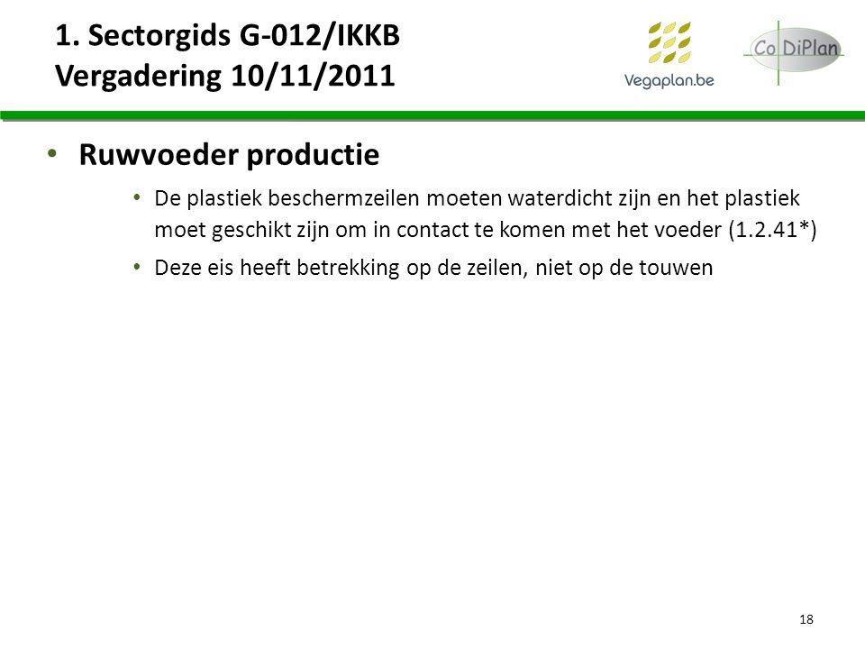 1. Sectorgids G-012/IKKB Vergadering 10/11/2011 Ruwvoeder productie De plastiek beschermzeilen moeten waterdicht zijn en het plastiek moet geschikt zi