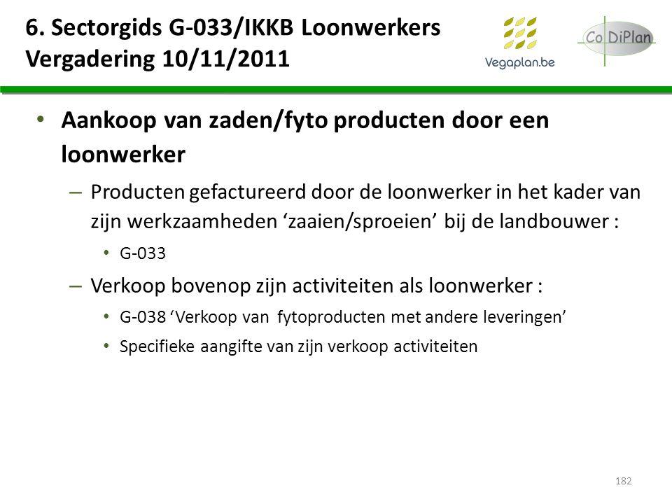 6. Sectorgids G-033/IKKB Loonwerkers Vergadering 10/11/2011 Aankoop van zaden/fyto producten door een loonwerker – Producten gefactureerd door de loon