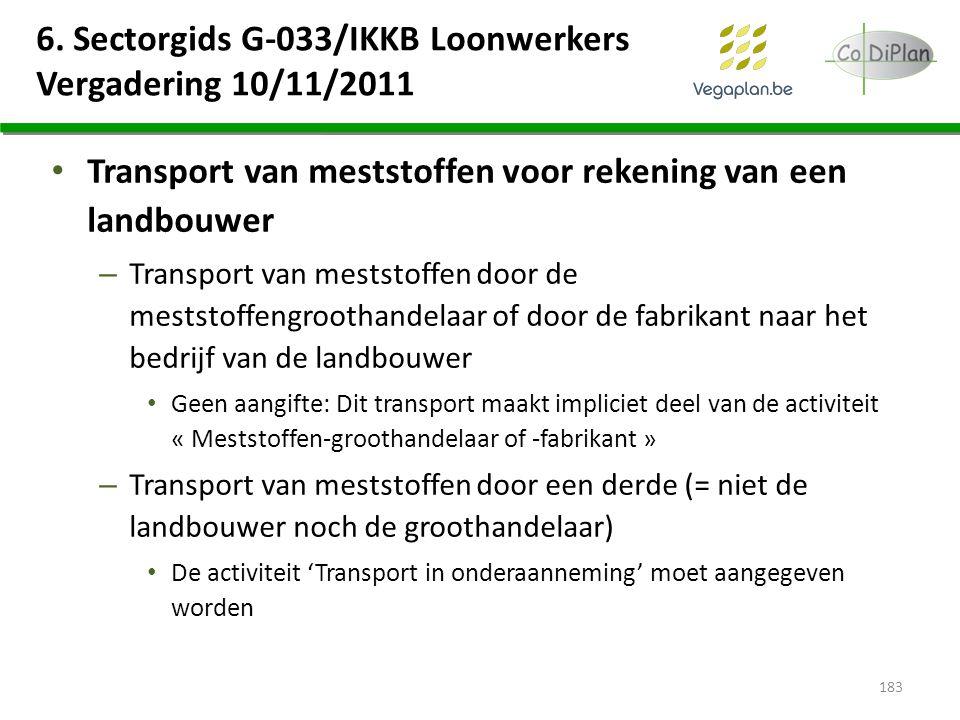 6. Sectorgids G-033/IKKB Loonwerkers Vergadering 10/11/2011 Transport van meststoffen voor rekening van een landbouwer – Transport van meststoffen doo