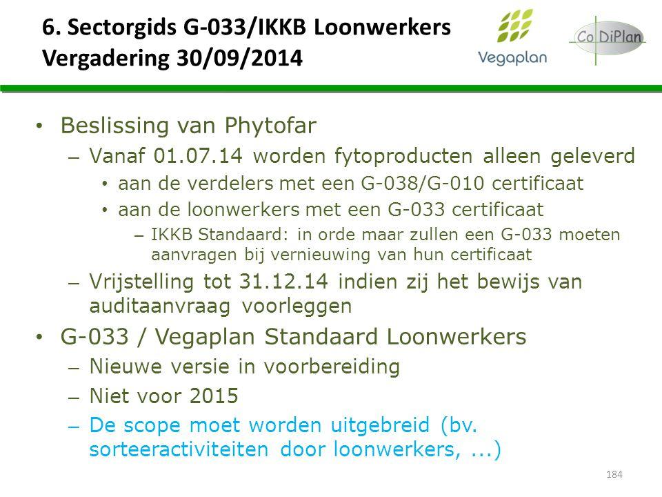6. Sectorgids G-033/IKKB Loonwerkers Vergadering 30/09/2014 184 Beslissing van Phytofar – Vanaf 01.07.14 worden fytoproducten alleen geleverd aan de v